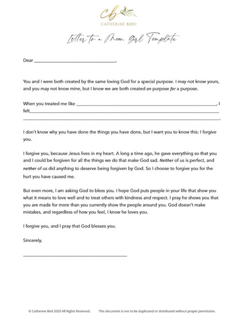 Catherine Bird: Letter to a Mean Girl Template