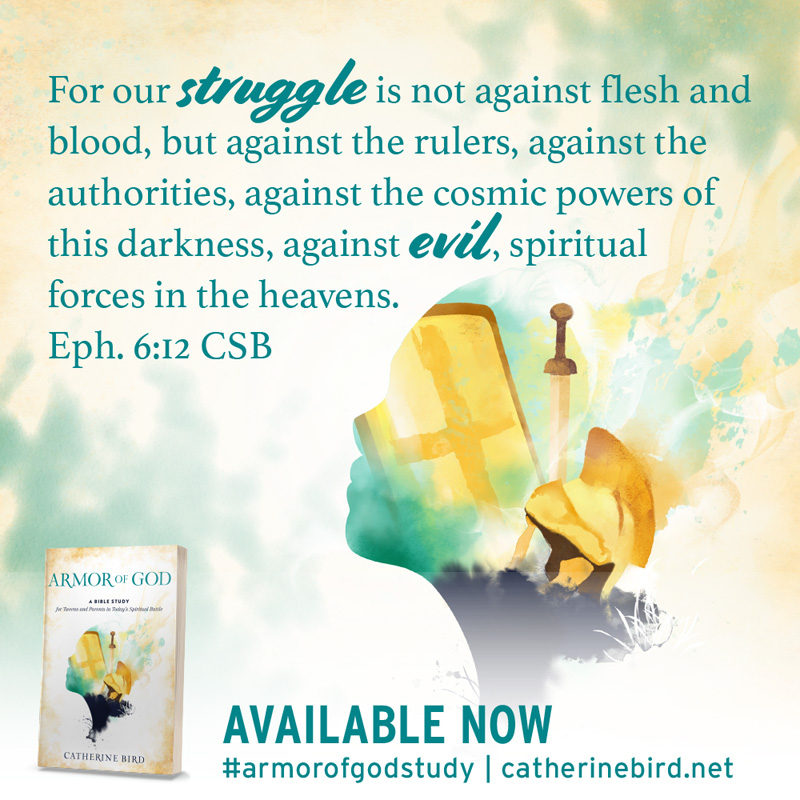 For our struggle is not against flesh and blood, but against the rulers, against the authorities, against the cosmic powers of this darkness, against evil, spiritual forces in the heavens. Eph 6:12 CSB - Catherine Bird #armorofgodstudy