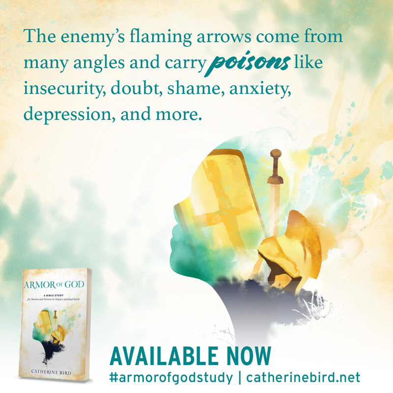 The enemy's flaming arrows come from many angles and carry poisons like insecurity, doubt, shame, anxiety, depression, and more. - Catherine Bird #armorofgodstudy