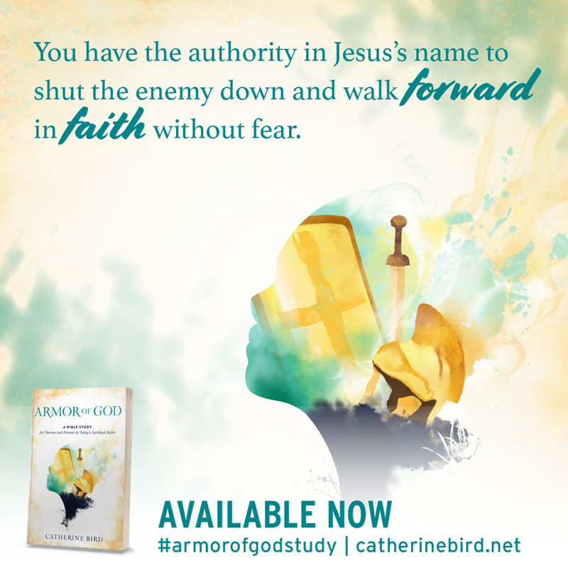 You have the authority in Jesus's name to shut the enemy down and walk forward in faith without fear. - Catherine Bird #armorofgodstudyt